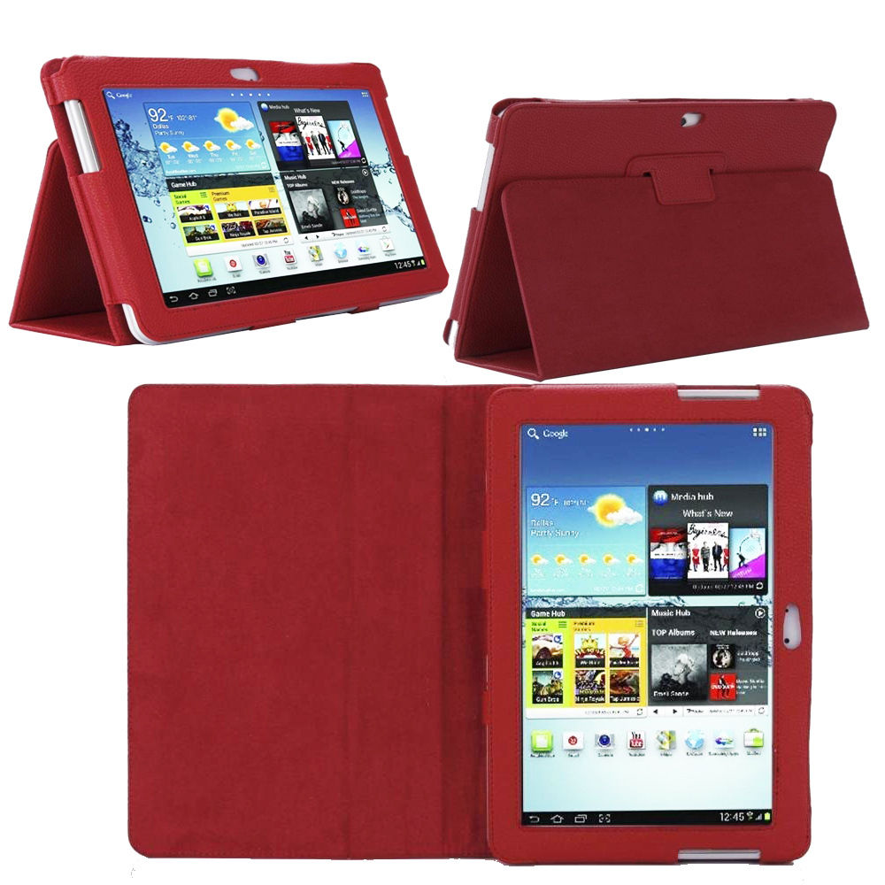 Leather Smart Case Cover for SAMSUNG TAB N8000-10.1 - PACK - HOT PINK
