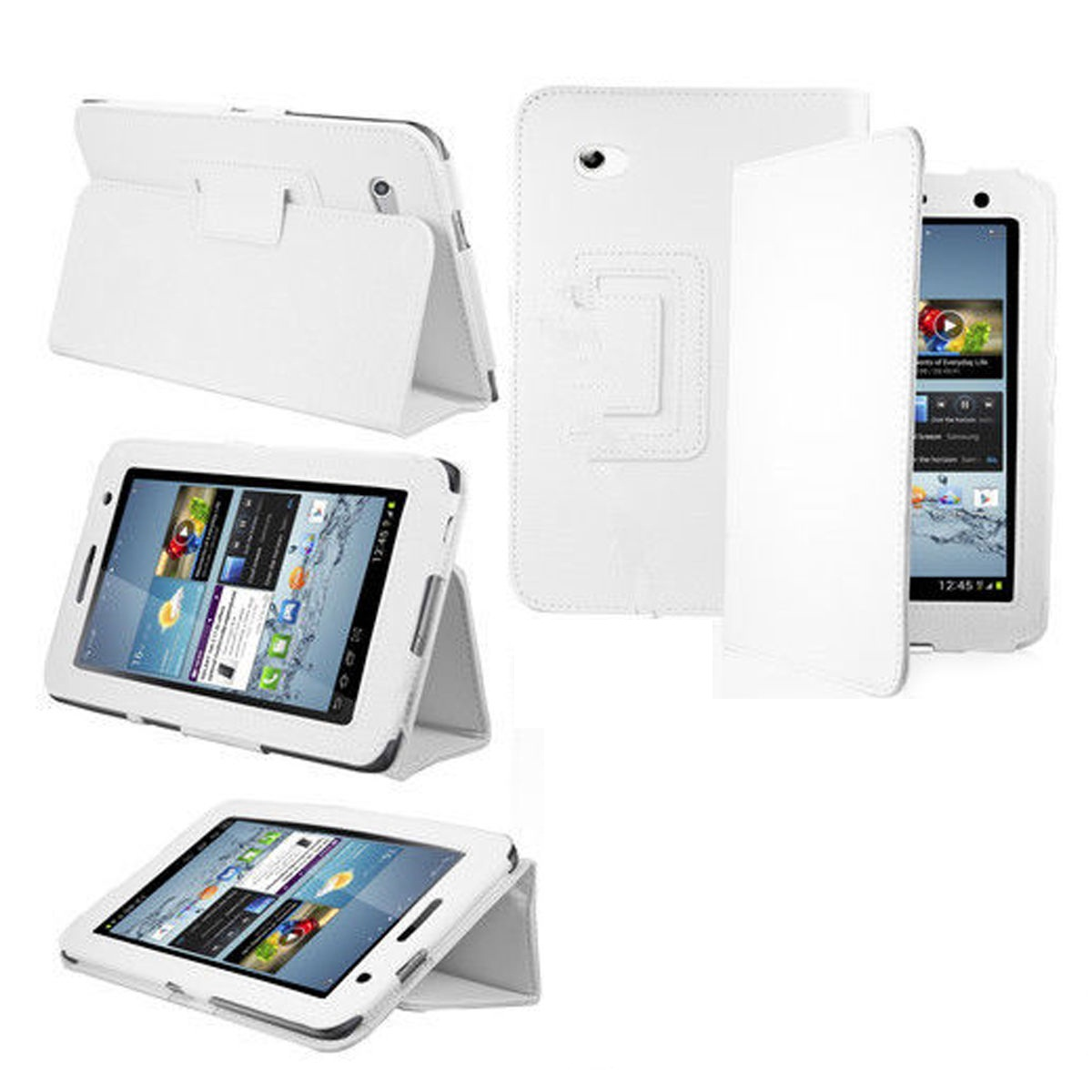 Leather Smart Case Cover for Samsung P3200 7 Inch Tablet + Screen protector +Stylus-White