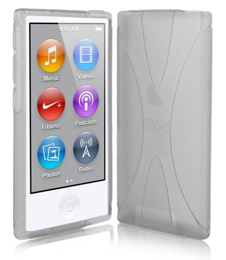 X Line Gel Case For Apple iPod Nano 7 - Clear + Free Screen Protector
