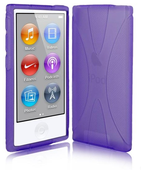 X Line Gel Case For Apple iPod Nano 7 - Purple + Free Screen Protector