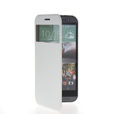 """wallet window case with """"MGS"""" logo for HTC M8- white """