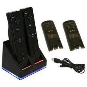 TWIN CHARGING AND DOCKING STATION FOR WII REMOTES-BLACK