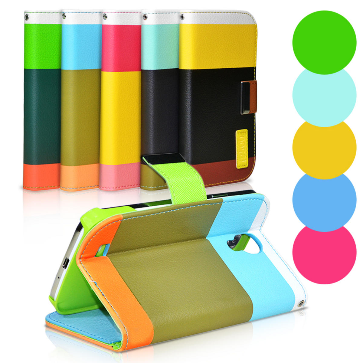 Hybrid Leather Wallet Flip Stand Case Cover For iPhone Note 1 - Yellow