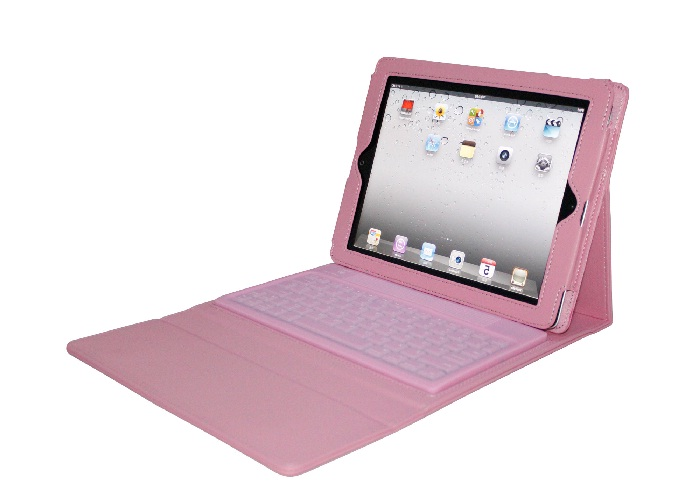 Bluetooth Keyboard with Leather Case for iPad , iPad 2, iPad 3 - PINK
