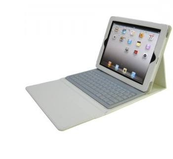 Bluetooth Keyboard with Leather Case for iPad , iPad 2, iPad 3 - WHITE
