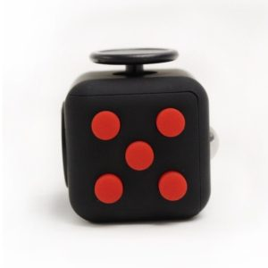 six sided fun fidget cube black red